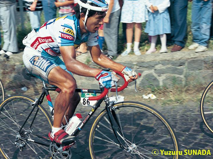 20 May1990  73rd Giro d'Italia Stage 02 : Consilina - Vesuvio ICHIKAWA Masatoshi (JPN) Frank - Toyo, at Vesuvio Photo : Yuzuru SUNADA / Slide / Pro Scan